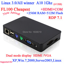 "FL100 Linux thin clients with RDP7 All winner A10 1G Linux 3.0 256M Ram 512M Flash HD VGA 56"" big screen support(China)"