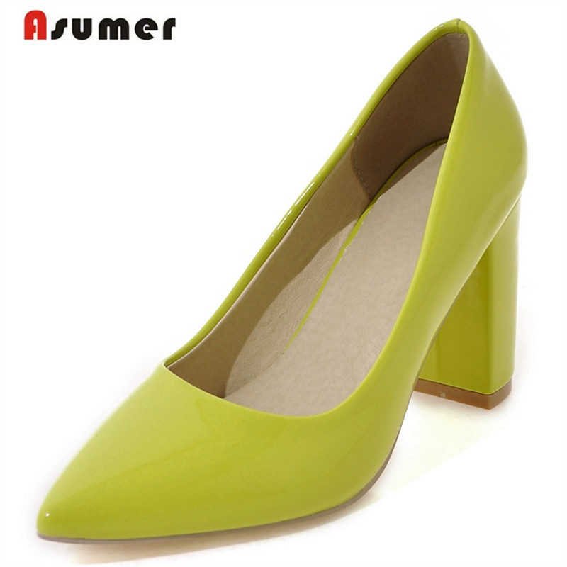 Asumer 5 Colors shallow single four seasons shoes contracted fashion women pumps big size 33-43 solid high heels shoes <br><br>Aliexpress