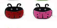 2colors, Supe Novelty 12CM approx. Cartoon Ladybug BAG , Plush Gift Coin Purse Wallet , Pocket Coin Pouch handbag BAG