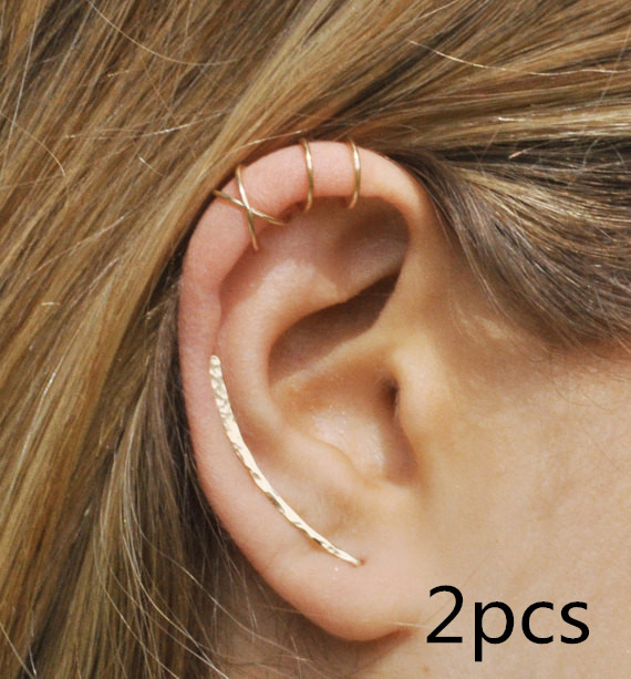 2pcs Set of 3 Ear Climber 30mm Double Ear Cuff Criss Cross Ear pins handmade simple fashion Jewelry for women Christmas gift