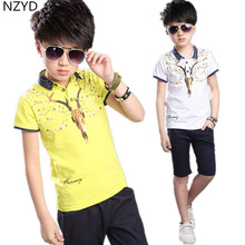 Children's Clothing New Boys Summer Suit 2017 Pure Cotton Short Sleeve + Middle Pants Casual Fashion Kids Clothes 2PSC Set DC398