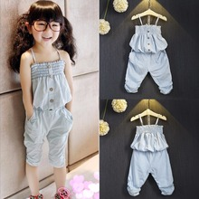Fashion Baby Kid girls clothes Shirt Vest Tube Top Strap Tank + Slouchy Pants 2pcs Outfits Clothing Set tiny cottons