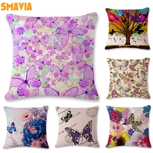 SMAVIA Pretty Butterfly Design Cushion Covers Car/ Chair/ Sofa/ Seat Pillow Covers 45*45 cm Pillowcase Home Decoration 1 piece(China)