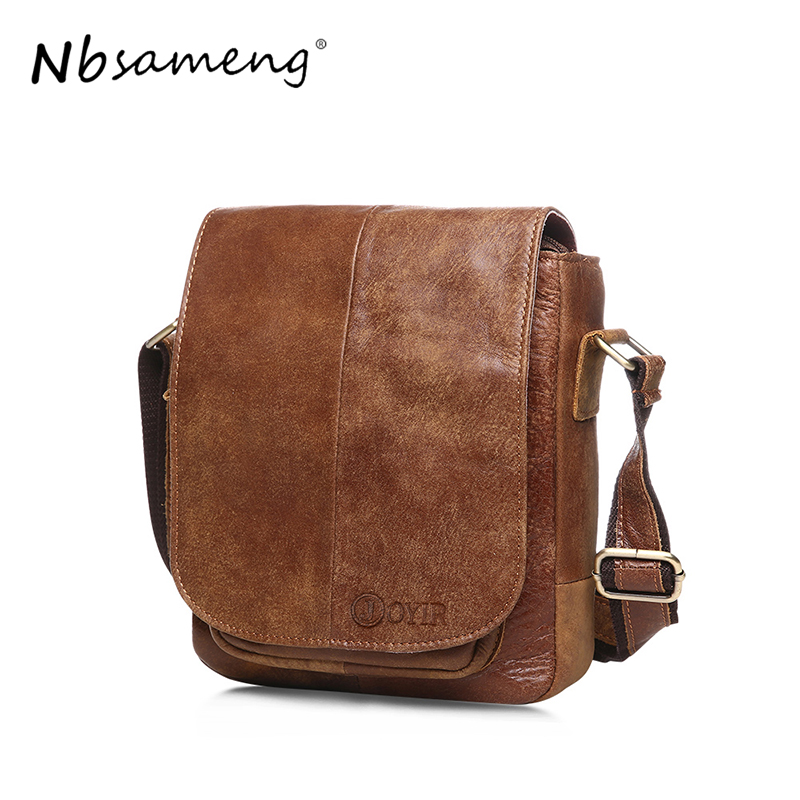 NBSAMENG  100% Genuine Leather Mens Bag Cowhide Skin Men Shoulder Crossbody Bag Briefcase Men Messenger  Bags Handbags<br>