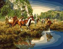 MaHuaf-X1285 Happy Wild Horse painting by numbers on canvas DIY oil digital paint by number kits for home decor