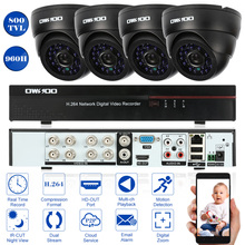OWSOO 8CH Full 960H/D1 HDMI DVR Kit 800TVL Security Camera System P2P Network DVR 4pcs Infrared IR Doom Camera Kit with Cables(China)