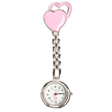 New Arrival Pink Chest Pocket Watch Doctor Nurse Watch Table Warm Sweet Heart Quartz Fob Brooch Pocket Watch with Clip Gift