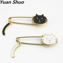 Lovely white black drops glaze cat pin brooch cat wags its tail fashion clothing accessories brooch 2017 factory direct sales