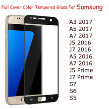 Full Cover Tempered Glass Samsung Galaxy A3 A5 A7 2017 J5 J7 2016 S7 S6 S5 Prime Colorful Screen Protector - Gin Certified Store store