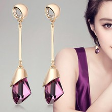 Buy Classic Elegant Long Earrings Women Fashion Geometric Crystal Gold Color Water Drop Earring Brincos Bijoux Jewelry for $1.38 in AliExpress store