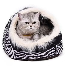 Super Warm Cat Cave Bed Dog House Puppy Kennel Shelter for Kitty Rabbit and Nest for Kitten Small Animals Edge With Soft Hair(China)