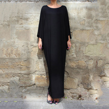 2017 New Autumn Maxi Batwing Sleeve O-neck Casual Big Sizes Loose Robe Party Women's Dress Large Size Women Clothes A167(China)