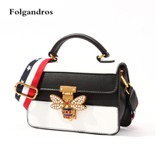 Exclusive Original Women Small Shoulder Bee Bag,2018 Spring/winter New Striped Bags,Famous Brand Popular Crossbody Messenger Bag(China)
