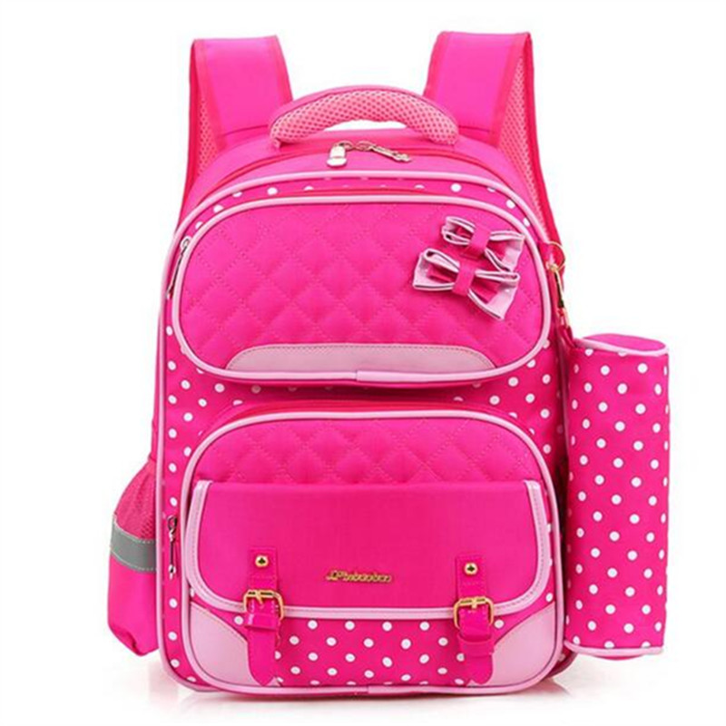 2017 NEW Children cartoon bow school bags pupil girls pink dot print backpacks kids girl and boys school bag combination<br><br>Aliexpress
