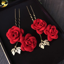 Classic Red Artificial Rose Floral hair pins headdress Head wear Wedding Hair Clip para el pelo Hair Sticks Manufacturer 78033