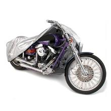 Silver Motorcycle Cover L Size 220*95*110cm Weatherproof Dust Rain Outdoor Motorbike Covering Outdoor Touring Scooter 180T