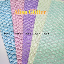 5PCS 21x29cm Faux Leather Fabric Embossed Fish Scales Leather Pu leather Fabric For Bow DIY Wallpaper B03