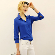 Women Blouses Direct Selling Free Shipping Button Solid 2016 Autumn New Long-sleeve Shirt Female Chiffon Women's Slim Clothing(China)