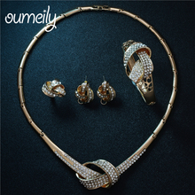 OUMEILY Jewelry Sets African Nigeria Beads Elegant African Wedding Bridal Statement Necklace Sets For Women Costume Jewellery(China)