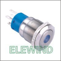 ELEWIND 19mm Blue Dot illuminated Latching push button(PM192F-22ZD/B/12V/S)