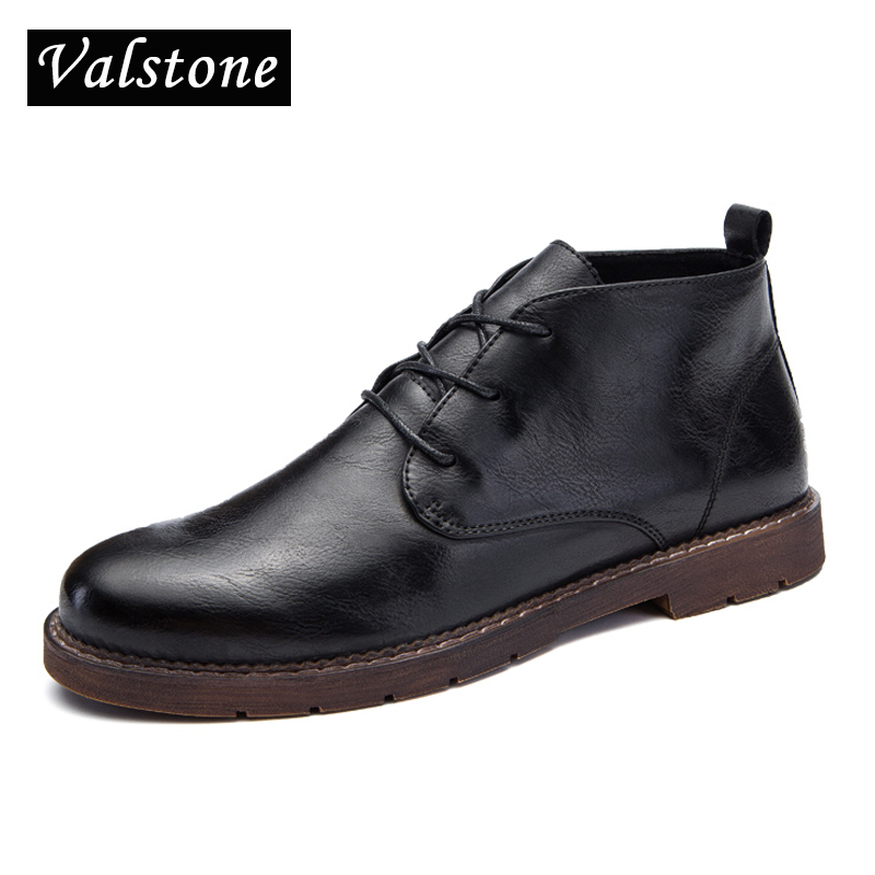 Valstone Quality Leather shoes men warm winter&amp;autumn sneakers lace-ups loafers velvet optional high tops black Christmas gift<br>