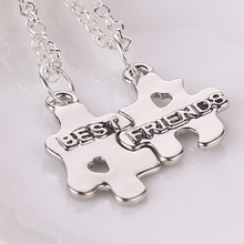 2016 Best Friends Forever Necklaces 2 Puzzle Pendant Couple Necklace For BFF Heart Cut Off Friendship Jewelry Hot Christmas Gift