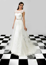 New! Hot Sale O-Neck Backless Beautiful Wedding Dress with Beaded Crystal sashes Backless A-line Wedding Dress