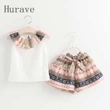 Hurave Summer Kids Clothing Set Floral Children Girl Clothes Set T Shirt And Floral shorts Pants  Infant Garment