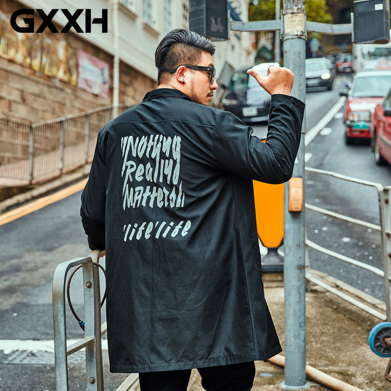 GXXH New Autumn Hoodies Trench Coat Men Letter Print Windbreaker Black Oversize Long Jacket Coat Large Size Male Overcoat 6XL7XL