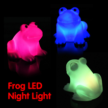 Energy Magic LED Cute Frog Night Light Novelty Lamp Changing Colors Colorful Creative Toy Gift @Z405(China)