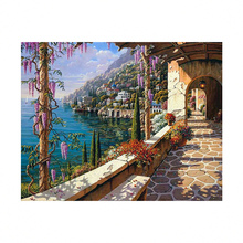 Diamond Painting Cross Stitch Diy Embroidery The Mediterranean Painting Round Drill Diamond Mosaic Beads Pasted Needlework