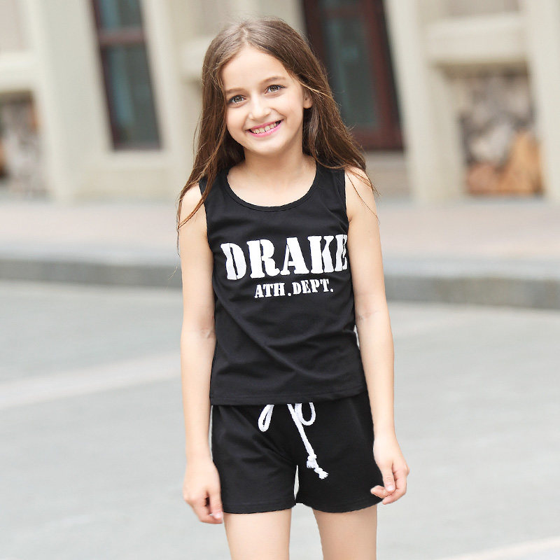 2016 Summer 2 pcs Sports Set Baby Girls Boutique Clothing Kids Clothes For Teens Age From 5 6 7 8 9 10 11 12 13 14T Years Old<br>