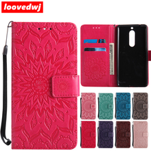 loovedwj For NOKIA 3 5 Case Luxury Leather Card Slot Sunflower Mobile Phones Cases For NOKIA 5 3 Flip Cover Case