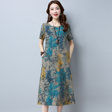 Retro Gradient Print Short Sleeve Cotton Linen Straight Long Dress Summer Fashion 2017 Women Casual Dress(China)