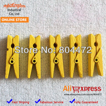 100pieces/lot Yellow Wooden Craft Project Photo Spring Clip | Pegs | Wedding Decoration | 35 mm