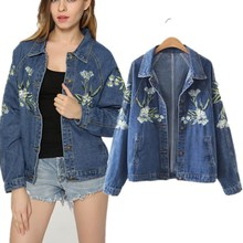 2017 women brand clothing long sleeve lily embroidery washed denim jacket Female fashion casual loose coat jeans Outerwear 1085