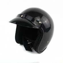 Carbon Fiber Leather Harley Helmets 3/4 Motorcycle Bike Helmet Open Face Vintage Motorcycle Helmet With Goggle Mask Motocross WH