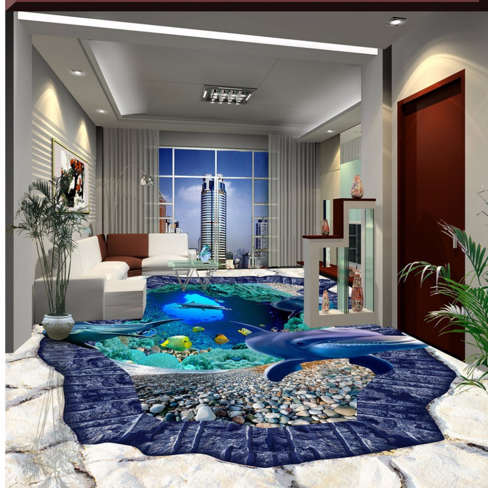 Free Shipping 3D stereo marine world dolphin floor tile painting bathroom restaurant mural waterproof wear flooring wallpaper<br>