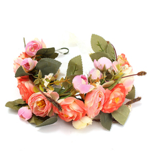 Floral Garlands Headband Women Wedding Flower Wreath Bohemia Crown Hair Band Orange(China)