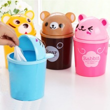 Mini Cute Trash Box Little Bear Creative Multifunctional Office Desktop Paper Garbage Storage Box Plastic Trash Box With Cover
