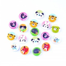 Free Shipping 50Pcs Random Mixed 2 Holes Print Animal Wood Buttons 15mm Dia. Sewing Tools For Diy Clothing Accessories F0601F