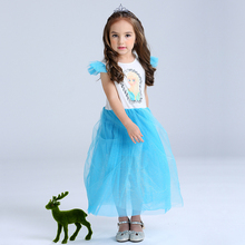 Sun Moon Kids Long Tulle Girl Dress 2017 Summer Sleeveless Girl Dress Print European American Girl Dress Party Princess Straight