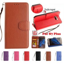 Retro Luxury PU Leather Flip Book Wallet Phone Cell Case kryty Cover For Samsung Samsug Galaxy Galaxi S7 Plus Purple Red Brown