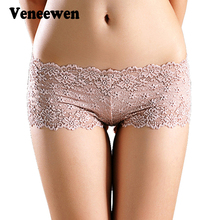 Sexy Brand Underpants Women Boxer Shorts Lace Panties Boyshort Female Knickers Full Lace Transparent Boxers Underwear(China)