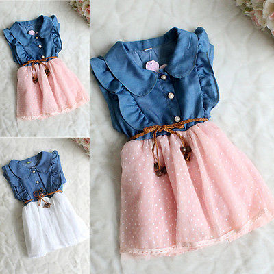 Baby Girl Kids Princess Party Dress Pathhwork Summer Cool Clothes Ruffle Clothes Kid Denim Jeans Dress Costume 1 2 3 4 5 Years<br><br>Aliexpress