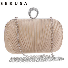 Satin rushed diamond finger ring day clutch evening bag women vintage bags chain shoulder bags fashion tote small purse bag