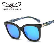 QUEENS KISS Luxury Flower Sunglasses Women Flat Sport Goggles Driving Mirror Sun Glasses Shades Lunette Oculo for Female QP1765(China)