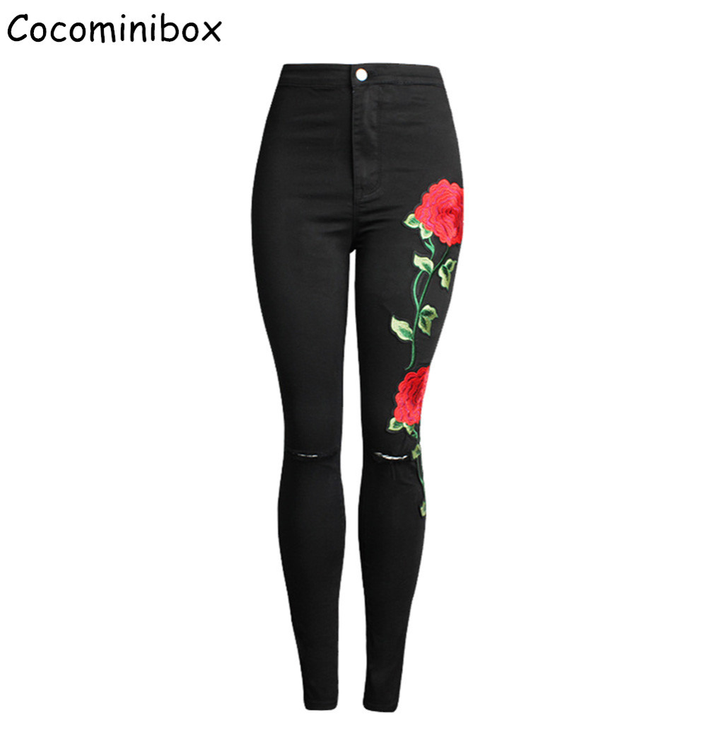 Cocominibox  Womens 3D Flower Embroidery Ripped Black Jeans High Waist Pencil Pants Skinny Denim Trousers Одежда и ак�е��уары<br><br><br>Aliexpress