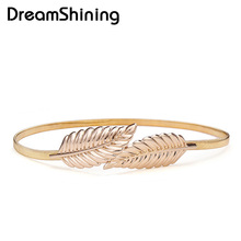 DreamShining Exquisite design Female metal elastic belt,Leaf shape gold tone Paint thin belt Decorative Accesories Wholesale