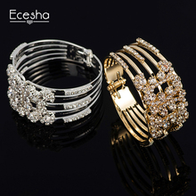 Ecesha Charm Gold Plated Multilayer Wide Bracelets&Bangles Imitation Diamond Cuff Bangle Statement Jewelry Fashion Bangle Women